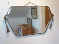 Antique Art Deco Frameless Bevelled Edge Mirror With Gold Tassel 65cm x 36cm