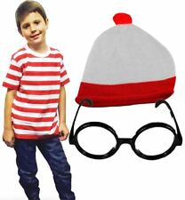 Childrens Red White Stripes T-Shirt Knitted Hat Wizard Glasses Fancy Party Set