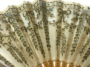 ART NOUVEAU TULLE EMBROIDERY W/ GOLD AND SILVER SEQUINS HAND FAN  c1900