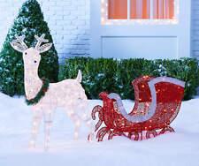 Light-Up Deer & Sleigh Set Outdoor Christmas Decor Yard Art