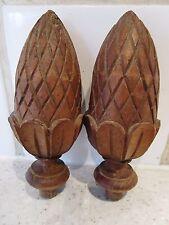 ancienne paire de boules-tourets-toupies en bois tourné pour meubles-escaliers