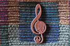 Dead Head Peace Sign Through Music Brushed Copper Treble Clef Music Note Pin