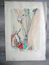 """Dessin Aquarelle Luc LAFNET (1899-1939) """"Excursion de vacances"""" France"""
