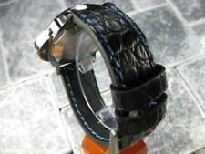 22mm BIG GATOR Leather Strap Black Thick Watch Band Belt Blue Stitch PANERAI x1