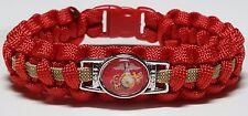 USMC Eagle, Globe & Anchor Unisex Handmade Red & Gold Marine Paracord Bracelet