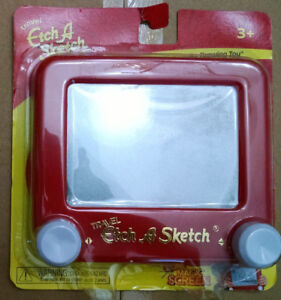 """NEW ETCH A SKETCH TRAVEL GAME AGES 4 UP FAVORITE DRAWING TOY RED COLOR 6"""" X 5.5"""