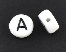 "1000 Hot Sell Acrylic Alphabet/Letter ""A"" Round Spacer Beads 7mm"