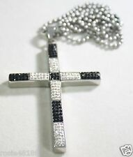 HIP HOP CZ BLACK CLEAR WHITE  BLING STAINLESS STEEL CROSS AND RHODIUM