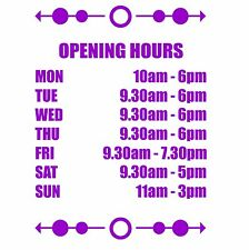 Opening Hours Times Sticker For Shops Pubs Clubs You Choose Hours and Colour OH4