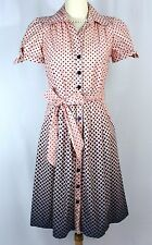 BCBG Paris Pink Blue Polka Dot Retro Style Cotton Shirt Dress - 4 S Short Sleeve
