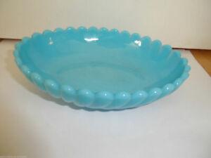 Preßglas Schale  opalin blau pressed glass fruit bowl blue Jugendstil