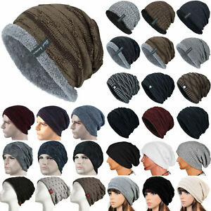 Men's Ladies Unisex Beanie Hat Winter Warmer Knitted Wolly Slouch Caps Baggy UK