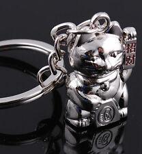 FD1178 Silver Sweet Lucky Cat Funny Cat Metal Keychain Keyring Keyfob Key Gift G