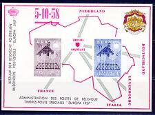 BELGIUM 1957 EUROPA DELUXE COLLECTIVE PROOF PRINTED ON CARTON SCOTT 512-13