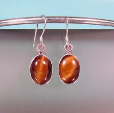 "3/4"" Long Oval  Tiger's Eye Gemstone 925 Sterling Silver Handmade Dangle Earring"