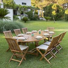 Set in teak per esterni o giardino con tavolo ovale allungabile 240 + 8 sedie