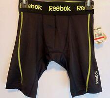 Men's REEBOK Small Black Neon Sport Compression Shorts Base Layer