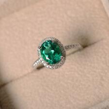 Oval Cut 2.2 Ct Natural Emerald Diamond Gemstone Ring 14k White Gold Size 7 8 9