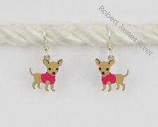 Sienna Sky Earrings - Chihuahua in pink sweater