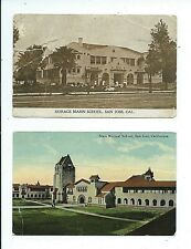 Two SAN JOSE California Postcards SCHOOLS Horace Mann posted 1911 & State Normal