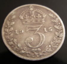 SOLID SILVER Three Pence Coin 1915 King George Half Six Penny Thruppenny Bit GB