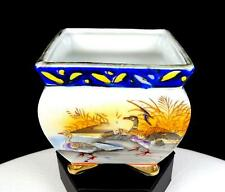 """GOLD CASTLE CHIKUSA JAPAN DUCKS ON A LAKE SQUARE 3 1/2"""" FOOTED PLANTER 1940's"""