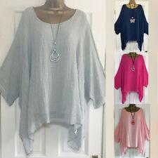 Women's Ladies Solid Loose Casual Cotton Linen Tops Shirt Blouse Plus Size S-5XL