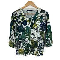 Sportscraft Womens Blouse Size Large Floral 3/4 Sleeve Silk Cotton Blend Lovely