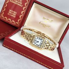CARTIER PANTHER WATCH  18K GOLD WITH CUSTOM MADE DIAMOND BEZEL W/BOX & PAPERS