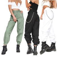 Women Harem Chain Long Pants High Waist Hip Hop Sports Jogger Trousers Fashion
