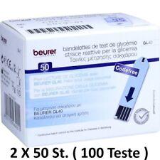 2 x 50 (ST 100) Beurer GL40 STRISCE PER MISURAZIONE GLICEMIA misurative reattiva
