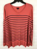 Talbots Womens Striped V-Neck Long Sleeve Top Size XL
