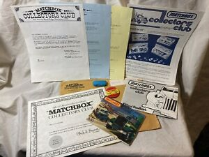 1982 Matchbox Collectors Club Handbook ,Pin, Catalog, Newsletter,Certificate Etc