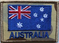 Army Australia National Flag Patch on Desert Auscam with Hook Backing