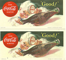 Coke Coca Cola Sprite Vintage Ink Blotter Lot of 2 1953 mint unused fresh  8
