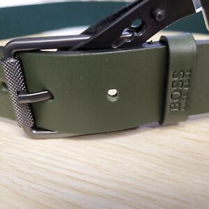 💪Green 36🌊 Designer BOSS HUGO Macy Belt Mens Stretch Leather belt