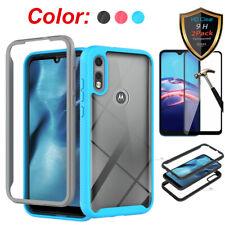For Motorola Moto E7/ E2020 Case Hybrid Slim TPU Cover+Full Screen Protector