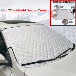 Silver Car Front Windshield Snow Cover & Sun Shade Protector With Cotton Thicker