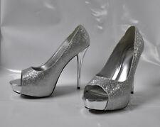 "Delicious ""Mealy"" silver glitter open-toe hi-heel pump - Size 11, 5.5"" heel  New"