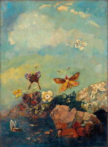 Odilon Redon Butterflies Poster Reproduction Paintings Giclee Canvas Print