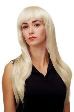 PERRUQUE pour femme séduisant Glamour Diva Blond platine long lisse frange