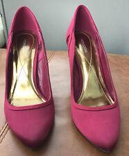 """Señoras Monzón Tribunal Zapatos Talla 40 púrpura 3.5"""" Tacones Lateral Detalle De Encaje"""