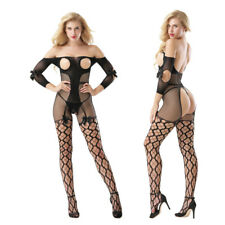 Sexy Bowknot Long Sleeve Elastic Women Fishnet Bodystockings Babydoll Nightwear