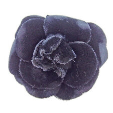 Chanel brooch corsage Camellia Black Woman Authentic Used E1062