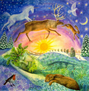 YULE CHRISTMAS GREETING CARD Holly King Dreaming SOLSTICE PAGAN WENDY ANDREW