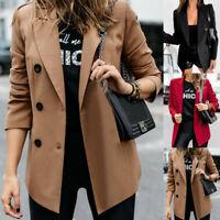 Women Blazer Slim Lapel Long Sleeve Cardigan Suit Office Jacket Coat Outwear 998