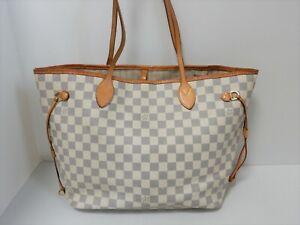 Louis Vuitton Damier Azur Neverfull MM Shoulder Bag SP1141 Gray N51107