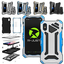 Waterproof R-JUST Gundam Metal&Gorilla Glass Case Cover For iPhone XR Xs Max 8+