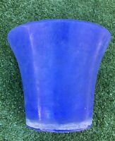 Vintage Large Blue Crockery Stoneware Pottery Flower Pot Signed By Artist