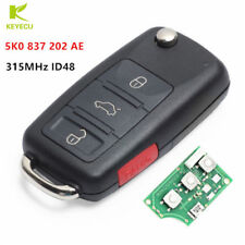 3+1Btn Replacement Flip Remote Key Fob 315MHz ID48 for Volkswagen 5K0 837 202 AE